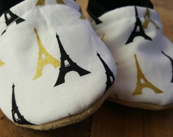 Paris, white, black, gold, tower, Moccasins, baby crib shoes, soft sole