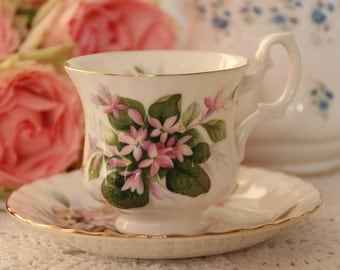 Royal Albert Un-named Teacup and Saucer Demitasse Teacup and Saucer (Mayflower) pink flowers on white porcelain