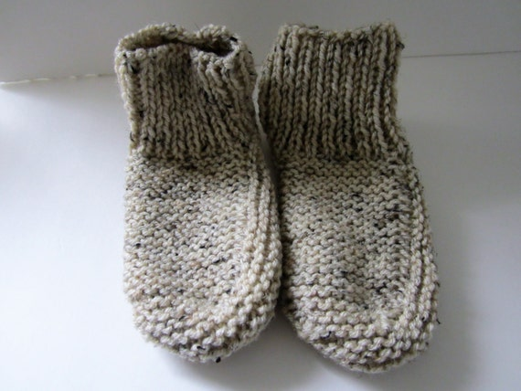 Items similar to Knitted Slippers, Womens Knit Slippers, Mens Knit ...