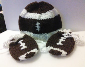 Baby Football Hat and Mitten Set