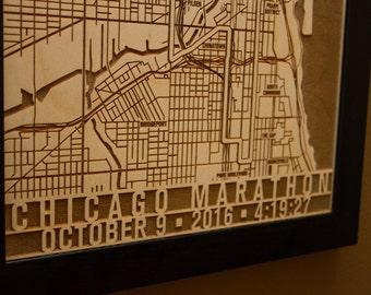 Chicago Marathon Personalized Laser Engraved Map