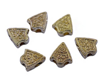 10 Pcs Gold Triangle Beads (12mm x 11mm) Gold Triangle Spacer Beads, 2 Holes Gold Spacer, Imame Tube, Gold Triangle Beads
