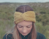 ladies Headband FRIDA, handmade, crochet, wool, winter hat, ear warmer,  olivegold, knotted turban style, available in different colors