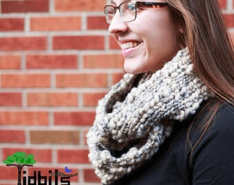 Chunky Knit Scarf - Caitlin Infinity Scarf - Cream Scarf - Cozy Gift for Her