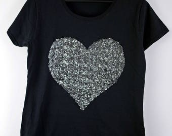 Faithful Heart tee, women's tshirt - sequins heart on black cotton- gift for her- by Monikatees