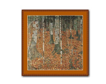 2 for 1 SALE! - Forest of Birch Trees Cross Stitch Pattern, Gustav Klimt, Landscape Instant Download Counted Cross Stitch Chart (P-161)