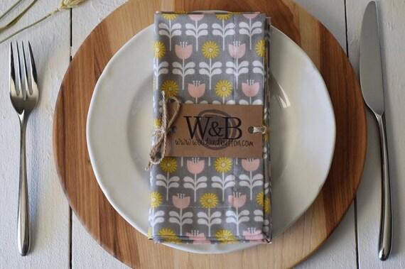 Fabric Napkin   table linen, cloth napkin set, table decor, spring