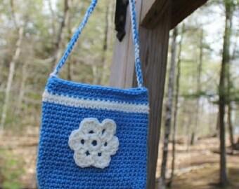 Little Girls Purse, Crochet Blue Purse, Crochet Blue Bag, Little Girls Bag