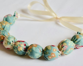 Handmade Fabric Bead necklace - Flowers in duck egg blue - jewellery