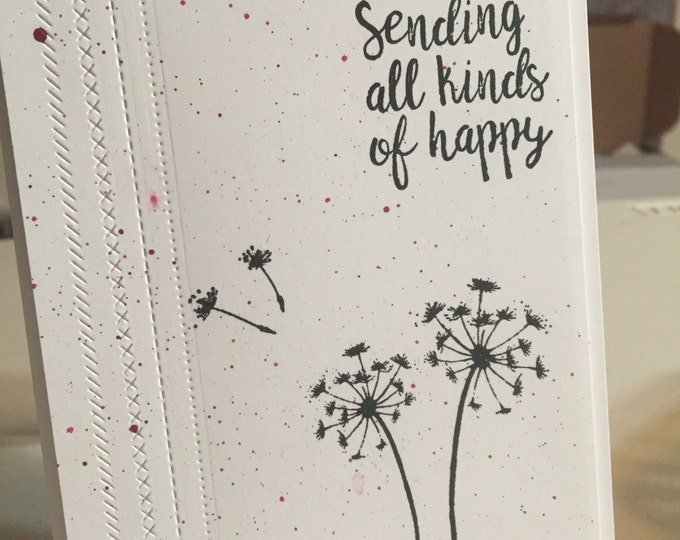 Handmade Card, Hand Stamped Card, Stamped Birthday Card, Handmade Birthday Card, Stamped Floral  Card,  Handmade Floral Card