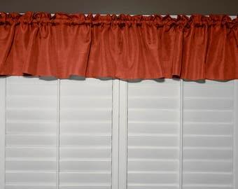 Vintage Linen Valance Solid Dark Orange / Window Decor / Window Treatments