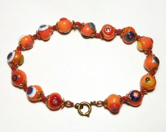 SALE Vintage Lampwork Glass Bead Bracelet Orange Knotted Strand Murano Floral