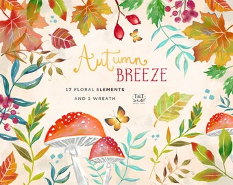 Autumn Breeze - Hand Painted Clipart. Perfect for invitations, fall wedding invites and more.