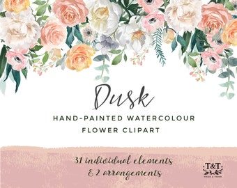 Watercolor Hand-Painted Flower Clipart - Dusk