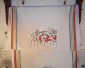 Hand Embroidered Dish Towel with Vintage Puppy Pattern Available in 3 colors