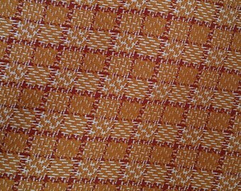 Polyester Double Knit Fabric - Red and Tan Checkered Polyester Fabric - Red and Beige Fabric - Hounds Tooth Print Fabric-Vintage Double Knit
