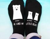 Daddy Bear Socks  My Little Bear Socks  Fathers Day Socks  Personalised Socks