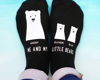 Daddy Bear Socks - My Little Bear Socks - Father's Day Socks - Personalised Socks