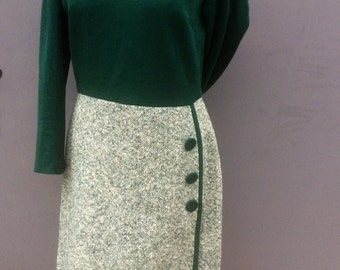 liza peters sixties vintage green tweed and jersey dress | size medium