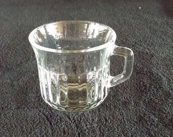 vintage 1970s fortecrista mexico small clear glass cup with handle / small mug