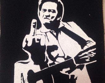 PATCH Johnny Cash Middle Finger silkscreen DIY