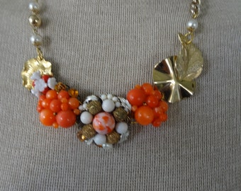 Vintage happy orange and white and gold tone bib necklace- delightful!