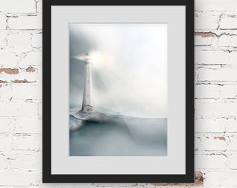 lighthouse print, nautical art, hamptons style art, monochrome art print, landscape illustration, blue grey art print contemporary art print