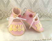 Pink with Velvet Bunnies Pure Wool Felt Baby Booties. Fully Lined. Gift Boxed. 03 months OOAK