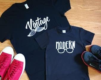 Vintange and Modern Father/ Child shirt set, Father son shirt set, father daughter shirt set