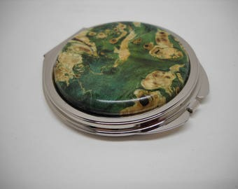 Pewter Finish Compact Double Mirror with Green Cabochon