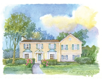 Watercolor home portrait painting from photo Custom colorful watercolor sketch of your house Custom watercolor Wedding Venue house portrait