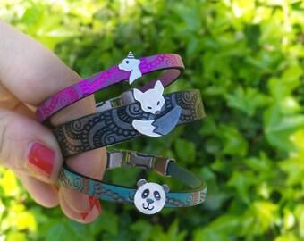 Leather silver bracelet, Leather colours bracelet, Girls leather bracelet, Teen Leather Bracelet, Silver cat bracelet, Silver owl bracelet