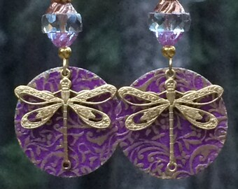 Dragonfly earrings, dragonfly jewelry, unique, lightweight, large dangle earrings