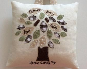 Mini Family Tree Cushion. Hanging cushion. Personalised, hand embroidery. Family keepsake, heirloom