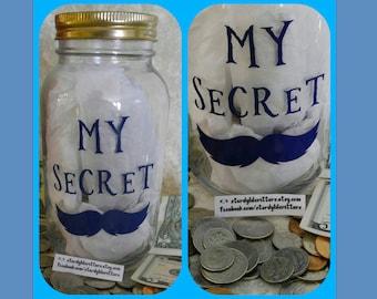 Mustache mason jar etsy for Secret piggy bank