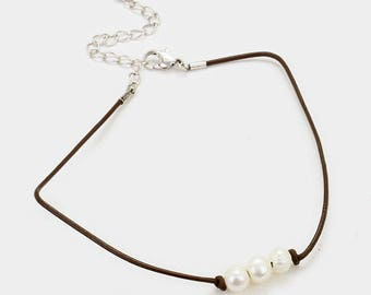 Faux Leather with triple culture freshwater pearl necklace