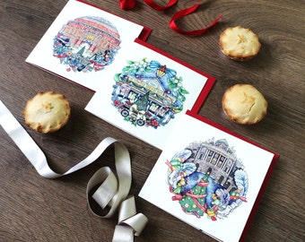 Set of three 'Christmas in London' cards. Covent Garden card, Somerset House card, Royal Albert Hall card. Xmas cards for London lovers.