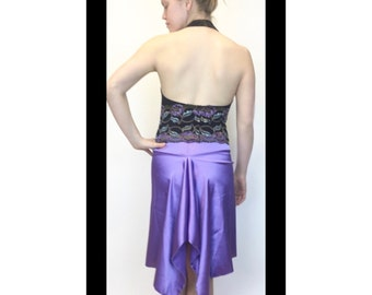 lavender skirt, Argentine tango skirt, fish tail skirt, satin charmeuse, dancewear