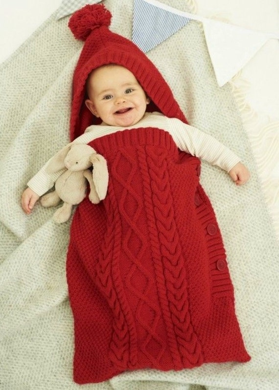 Knitted Baby Sleeping Bag With Without Hoodie Bunting