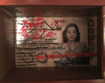 Original Encaustic Mixed Media Untitled (Alchemy, Tokyo Rose)
