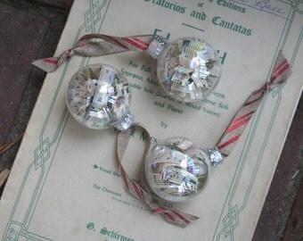 Sheet Music Christmas Ornament- Small set of three