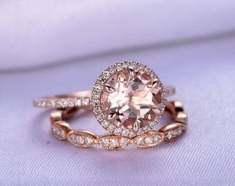 Bridal Set,Wedding Ring Set,Natural morganite Engagement ring,8mm Round Cut morganite ring,Art Deco Antique,Diamond Wedding Band,Rose gold
