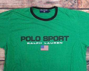Vintage Polo Sport T Shirt Size XL Spellout Flag Ralph Lauren