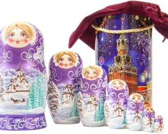 "Russian Nesting Doll - BIG SIZE - 7 dolls in 1 -  ""Winters Tale"" - Purple Color - Hand Painted in Russia"