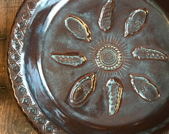 Handmade Pie Dish ~ Pie Plate ~ Pot Pie or Quiche ~ Rustic Rusted Iron ~ Farmhouse Kitchen ~ Durable Stoneware ~ Made to Order