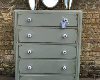A Vintage 1950's Hand Painted Chest of Drawers with Mirror.