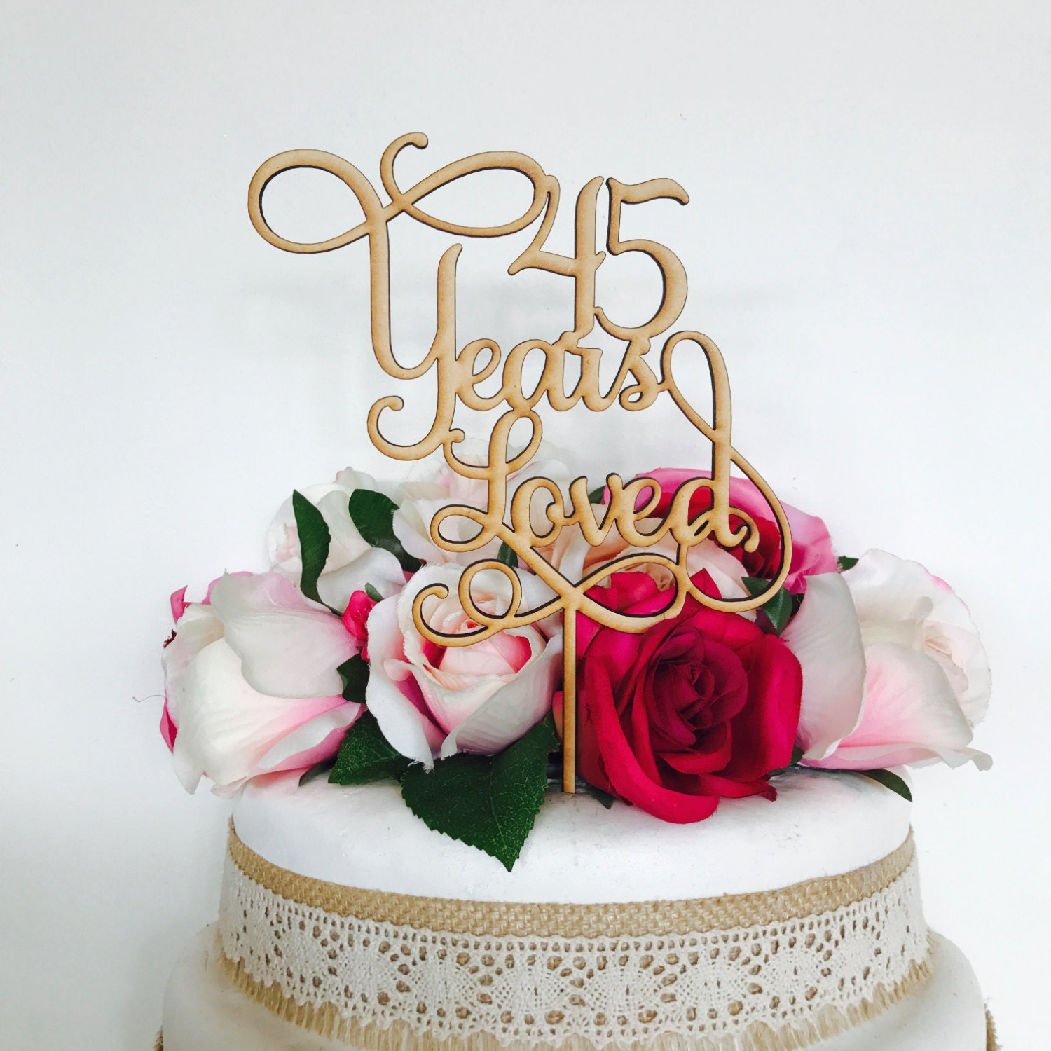 45 Years Loved Cake Topper Anniversary Decoration