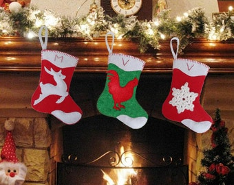 Personalized Christmas Stockings-Felt Christmas Stockings with Rooster, snowflake and deer-