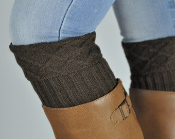 Brown Mosaic Cable Knit Boot Cuffs