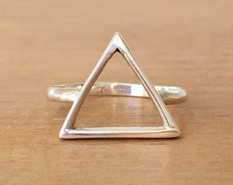 Balance Sterling Silver Ring, Triangle Ring,  Silver Triangle Ring, Geometric Ring, Boho Ring, Sacred Geometry Ring, Bohemian Ring
